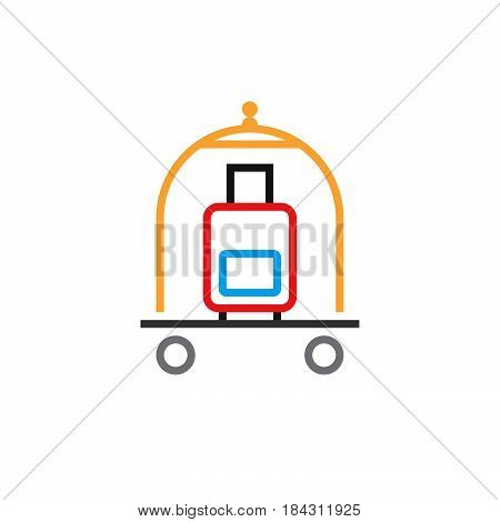 Hotel Luggage Cart Line Icon, Outline Vector Logo, Linear Pictogram Isolated On White, Color Pixel P