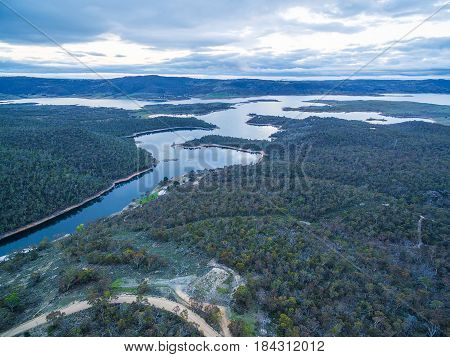 Snowy River And Lake Jindabyne At Sunset Aerial View. New South Wales, Australia