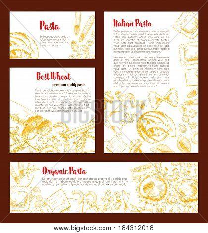 Italian pasta banner template set. Spaghetti, macaroni, penne, farfalle, ravioli, fusilli and lasagna pasta shape sketches with text layout for italian cuisine restaurant menu card, food poster design