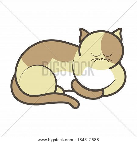 Cartoon sleeping kitten vector illustration isolated. Fluffy cat with big round eyes in spotted yellow and white color. Sticker of playful feline animal in flat design, pussy toy friend for child