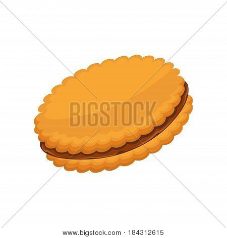 Sandwich biscuit, filled with cocoa cream isolated on white background. Double crackers with chocolate filling. Vector illustration, fresh pastry in flat design patisserie, realistic confectionery