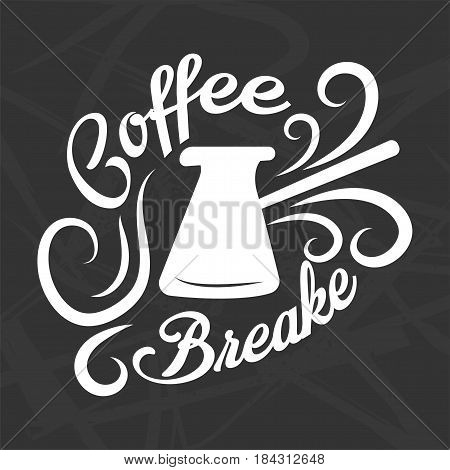 Coffee break logotype design isolated on black. Brewing turkish coffeepot with white curved steam signs vector illustration in flat style. Sticker or logo for restaurant branding and coffe menu