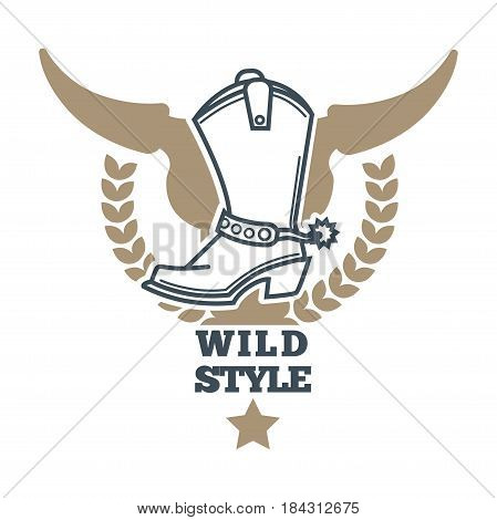 Wild western cowboy style colorful logo icon on white. Vector illustration in flat design of symbolic label with brown animal head silhouette and light boot against it with inscription below.