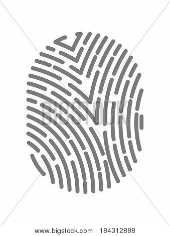 Fingerprint type with dashed line signs isolated on white background vector illustration in flat design. Black dactylogram, person identification mark for documents, personal identity symbol