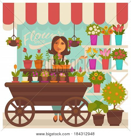 Florist woman near flower shop showcase colorful illustration. Smiling woman seller presenting assortment of blooms on wooden carriage with wheels and on shelves. Selling concept vector picture
