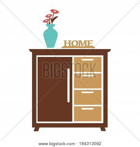 Brown cupboard with white handles on white background. Blue vase with three red flowers stands on dark cabinet. Carved sign with inscription home lying near navy water-glass vector illustration