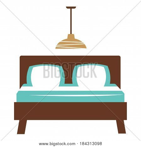 Dark double bed with two pillows, hanging chandelier on ceiling in bedroom or guest room. White and blue bed bedclothes. Vector illustration of classic interior isolated on honky cartoon style.