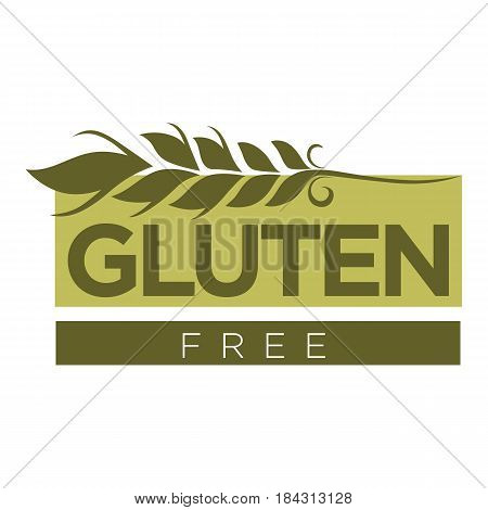 Gluten free substance in cereal grains logo design with wheat and text vector illustration isolated on white. Ingredient responsible for elastic texture of dough due to mixture of proteins logotype