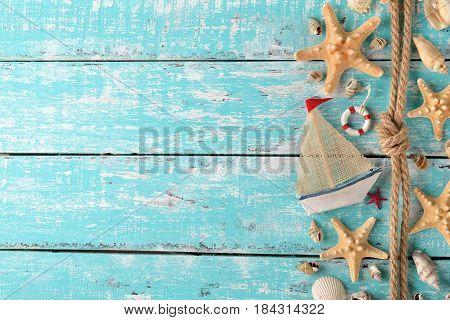 Marine decoration on a vintage background close up