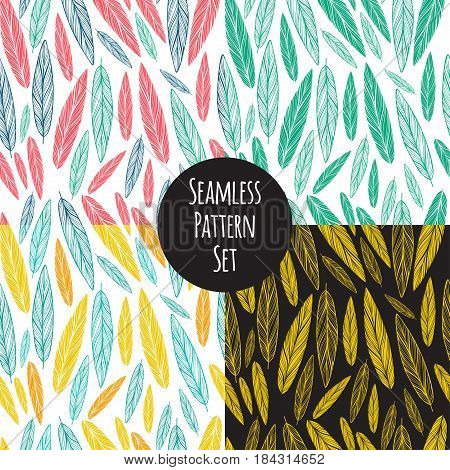 seamless pattern set with feathers on white background
