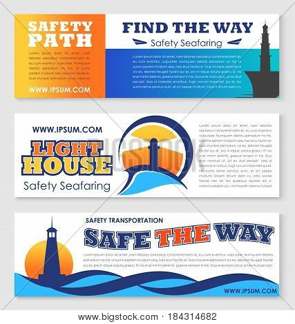 Sea transportation safety, nautical navigation banner set. Lighthouse tower badges with ocean waves and text layout for marine travel, safety seafaring concept design