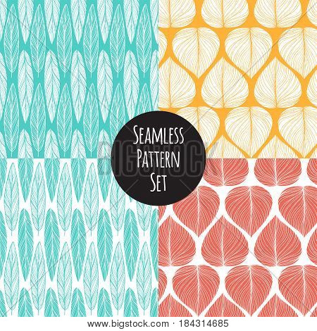seamless pattern with feathers and leafs on color background