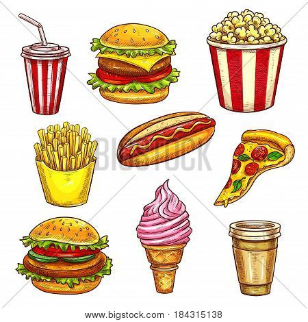 Fast food lunch takeaway dishes icon set. Hamburger, hot dog, pizza, coffee and soda drinks, cheeseburger, french fries, ice cream cone and popcorn sketches. Fast food restaurant menu card design