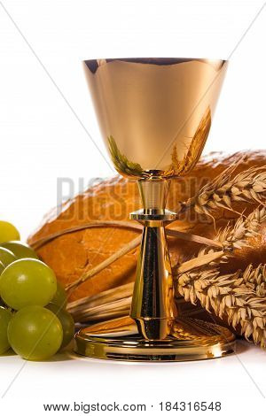 holy communion elements isolated in white background