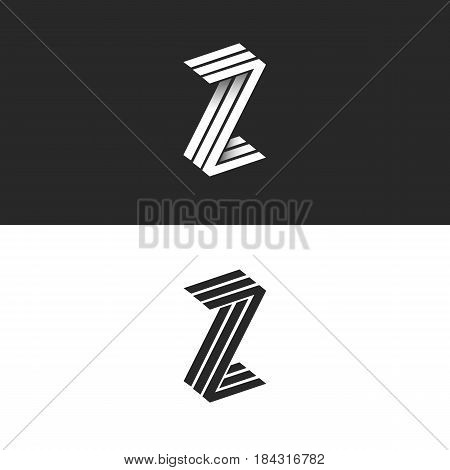 Letter Z Logo Isometric Geometric Shape 3D Monogram, Hipster Graphic Design Initials Zzz Black And W