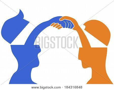 isolated 2 people head with handshaking on white background