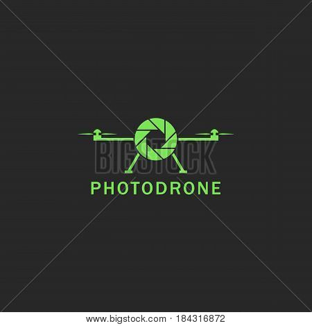 Drone Logo Flat Style Green Flying Copter With Abstract Lens Photo Camera Emblem. Helicopter Deliver