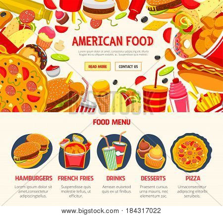 Fast food restaurant banner template. Fast food menu with hamburger, hot dog, pizza, soda, donut, french fries, sandwich, cheeseburger, ice cream and dessert. Fast food takeaway menu web banner design