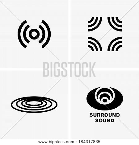 Set of four surround sound symbols on light grey background