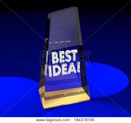 Best Idea Award Trophy Prize New Creative Concept 3d Illustration
