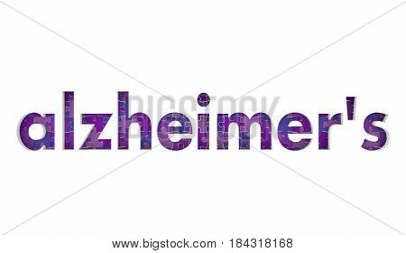 Alzheimer's Disease Puzzle Pieces Health Care Treatment Condition 3d Illustration