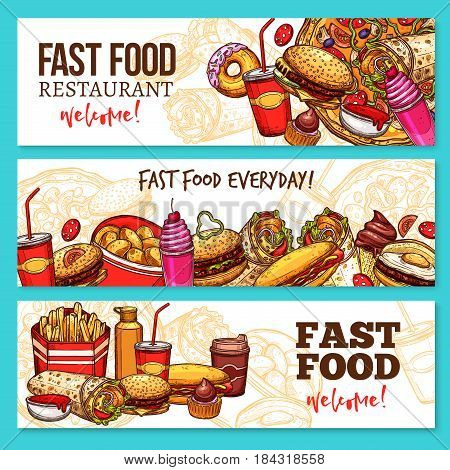 Fast food restaurant banners. Hamburger, hot dog and pizza, french fries, coffee and soda drinks, donut, cheeseburger and egg sandwich, cupcake, ice cream, burrito, ketchup and mustard sauces