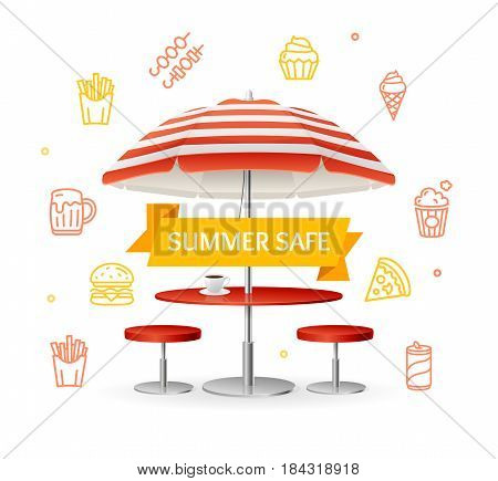 Fastfood and Street Food Concept witch Parasol Table and Chairs for City Streets and the Beach. Vector illustration