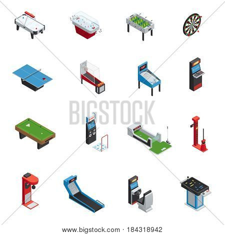Colored and isolated isometric table games game machine icon set for casino and amusement park vector illustration