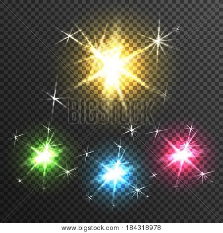 Starburst diffuse glow light effects of 4 colorful stars on black transparen background poster realistic vector illustration