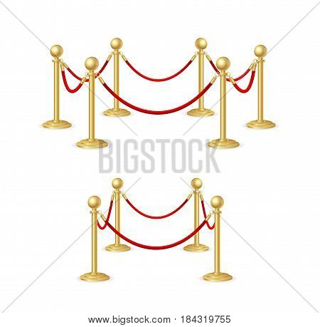 Gold Rope Barrier Constructor Set Concept Premiere Exposition and Protection Expensive Art. Vector illustration
