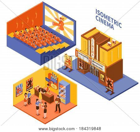 Collection of cinema isometric compositions with viewers in auditorium visitors in foyer and entrance in movie theatre vector illustration