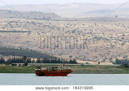 A cloudy morning on the shore of Lake Kinneret (Tiberias Lake, Sea of Galilee)