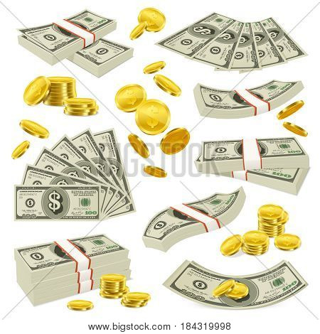 Copper cents gold coins and american currency banknotes with dollar symbol realistic money images collection vector illustration