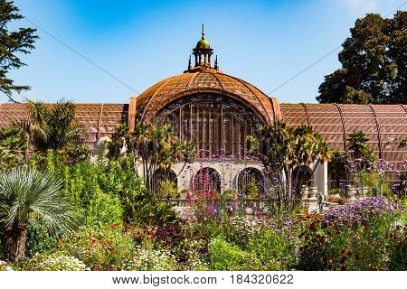 SAN DIEGO, CALIFORNIA - APRIL 28, 2017:  The landmark Botanical Building in Balboa park, built for the 1915-1916 exposition, and housing more than 2000 permanent plants on display.