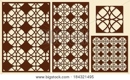 Set of decorative panels laser cutting. Repeated geometric pattern. The ratio of 2: 3, 1: 2, 1: 1, seamless. Vector illustration.
