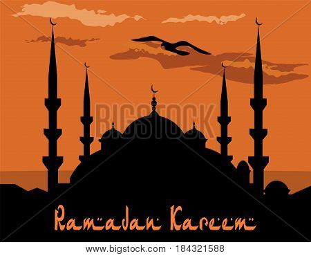 Ramadan Kareem. Stylized drawing of the blue mosque. Bird, the clouds. Vector illustration