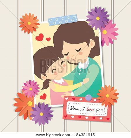 Happy Mother's Day. Photo of cartoon mother and daughter hugging together. Photo frame with flower decor and memo written