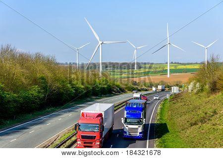 Day view UK Motorway Road Wind Turbines.
