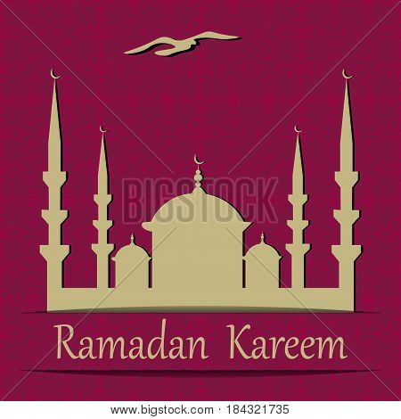 Ramadan Kareem. Cut out of a paper mosque. Background in the form of an ornament in oriental style. Vector illustration