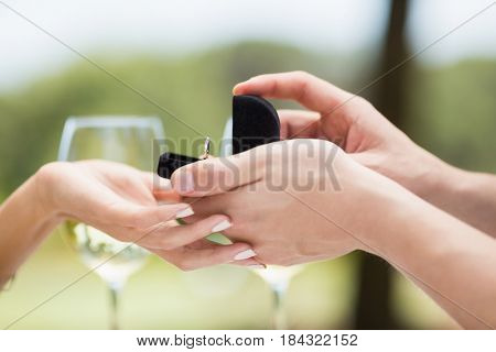Close-up of man proposing to woman offering engagement ring in a restaurant
