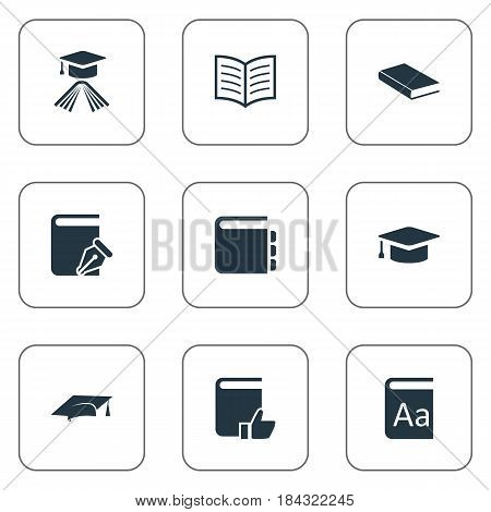 Vector Illustration Set Of Simple Education Icons. Elements Academic Cap, Recommended Reading, Academic Cap And Other Synonyms Journal, Dictionary And Catalog.