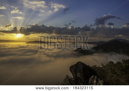 Beautiful sunrise view and sea of clouds from Phuphaduk in Nong khai provience, Thailand.