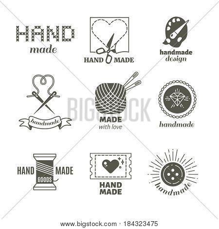 Vintage hipster handmade, hairstyle, handiwork vector badges, labels, logos. Workshop label set, illustration of hand made work shop