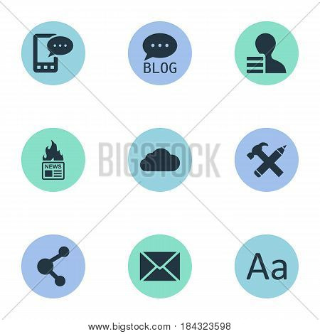 Vector Illustration Set Of Simple Blogging Icons. Elements Gain, Site, Repair And Other Synonyms Overcast, Epistle And Relation.