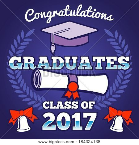 Students congratulating graduation vector background. Graduates ceremony poster, campus background. Banner congratulation graduate, illustration of graduation university or school