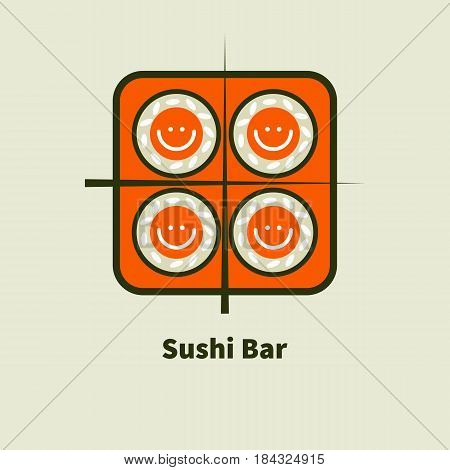 Icon with smiley bento sushi and chopsticks. Logo for sushi bars. Vector illustration.