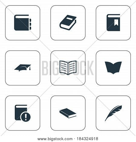 Vector Illustration Set Of Simple Books Icons. Elements Book Cover, Academic Cap, Journal And Other Synonyms Graduation, Textbook And Journal.
