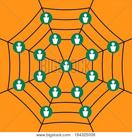 Scheme networking. Web with users. Multilevel marketing. Business icon. Vector illustration.