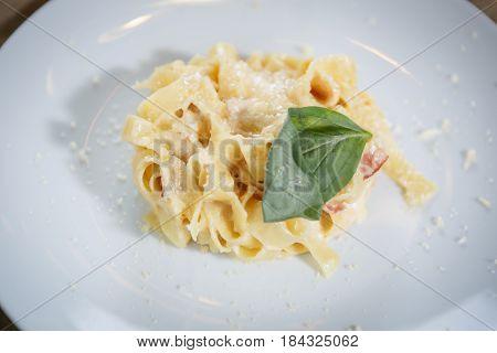Italian Pasta Dish In Restaurant