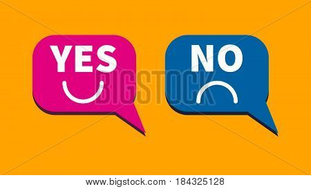 Web buttons feedback bubbles labeled yes or no. Survey of users opinions questionnaire. Vector illustration.